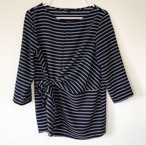 Gibson Black Striped Tunic Top with Tied Waist